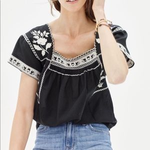Madewell wildflower embroidered top xs